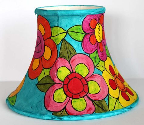 Bright Colored Flowers And Turquoise Hand Painted Lampshade By