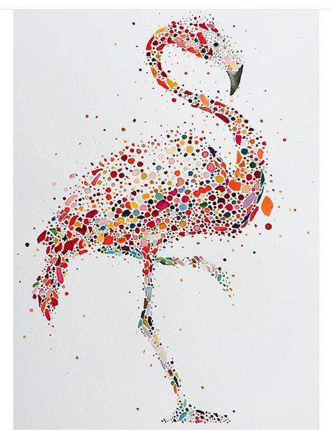 Flamingo in watercolour