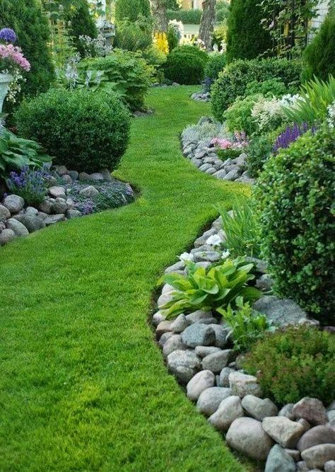 Beautifully landscaped yard....rock edged borders...grass pathway...