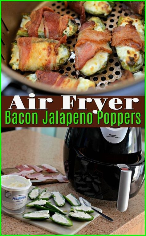 Need the perfect Keto appetizer idea? These bacon wrapped jalapeno poppers are a cinch to throw together and can conveniently be cooked right in your air fryer! Recipes paleo Keto Bacon-Wrapped Jalapeno Poppers Using the Air Fryer Air Fryer Recipes Potatoes, Air Fryer Oven Recipes, Air Fryer Dinner Recipes, Power Air Fryer Recipes, Air Fryer Recipes Appetizers, Shrimp Appetizers, Recipes Dinner, Bacon Wrapped Jalapeno Poppers, Stuffed Jalapenos With Bacon