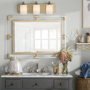 Rectangle Gold Vanity Mirror With