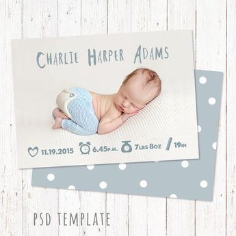 Birth Announcement Template Newborn Card Baby Announcement Etsy Fotoshooting