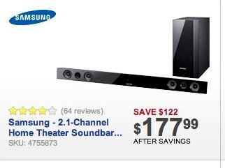 Black Friday Ads Samsung 2 1 Channel Home Theatre Sound Bar At Best Buy Home Theater Sound Bar Home Theatre Sound Cool Things To Buy