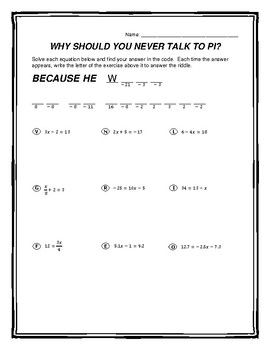 Solving Two Step Equations Riddle Worksheet With Images Two Step Equations Solving Equations Equations