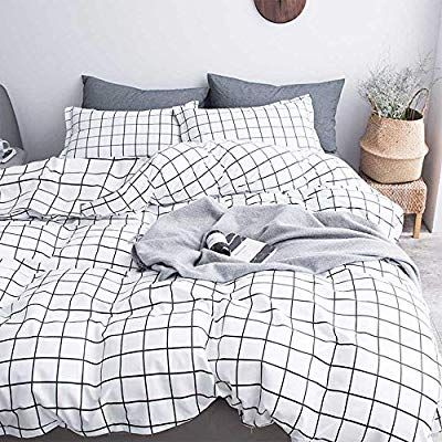 Nanko Twin Duvet Cover Set Grid 68x90 Soft Bedding Cover Luxury Lightweight Microfiber 2pc Set 1 Cover 1 Bed Quilt Cover Modern Style Bed Queen Duvet Covers