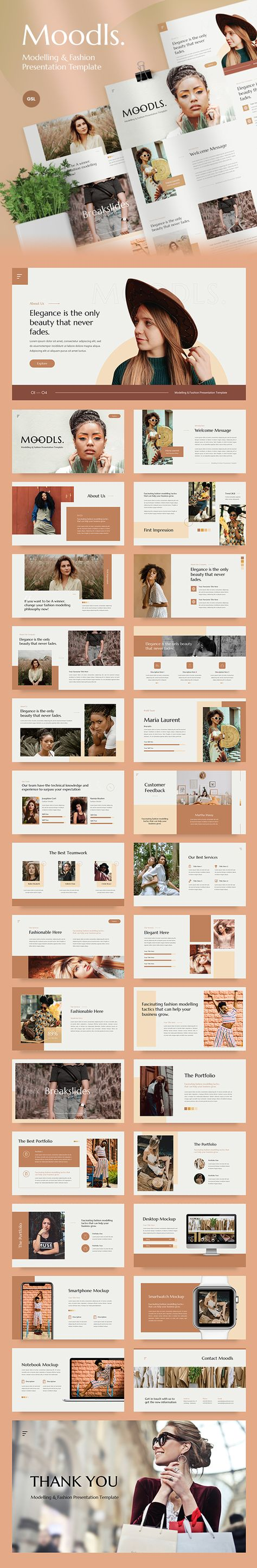 Moodls - Modelling & Fashion Google Slides Template