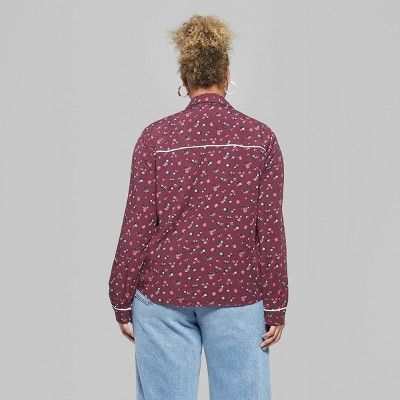 99925cf7d2b Women s Plus Size Long Sleeve Button-Down Tie Front Floral Western Top - Wild  Fable Burgundy 3X