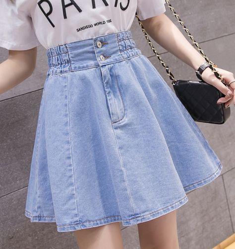 skirt Denim Pleated Skirt Women Plus Size Xxl Summer Skirts Casual Blue Mini Jeans Skirt Vintage Jupe Size S Color deep blue High Waisted Denim Skirt, Denim Skirt Outfits, Pleated Skirt, Mini Skirt, Waist Skirt, Teen Fashion Outfits, Outfits For Teens, Girl Outfits, Teen Girl Fashion