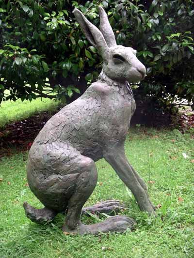 Bronze Resin Garden Or Yard / Outside And Outdoor Sculpture By Artist Lucy  Kinsella Titled: U0027Seated Hare (Large Outsize Bronze Resin Garden Sculptures )u0027