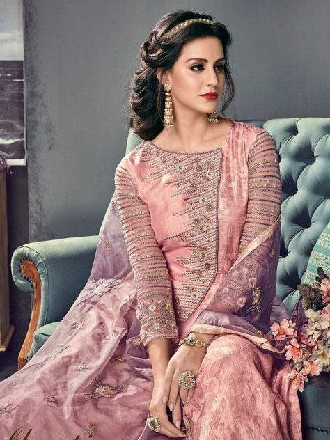 2a2c31ab14 Pink Hues Ethnic Embroidered Silk Anarkali Suit - Hatkay