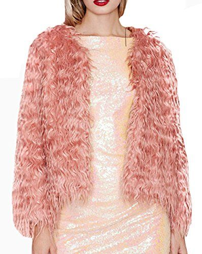 Diffyou Womens Winter Elegant Long Sleeve Faux Fur Cardigan Coat Pink Small ** Want to know more, click on the image.