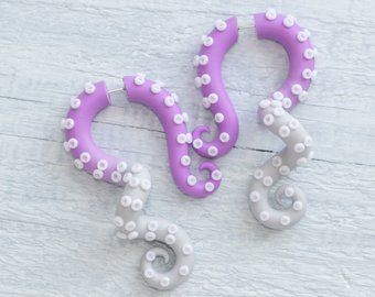 octopus earrings with glow in the dark suction cups yami kawaii earrings fairy kei fake plugs Pastel tentacle gauges