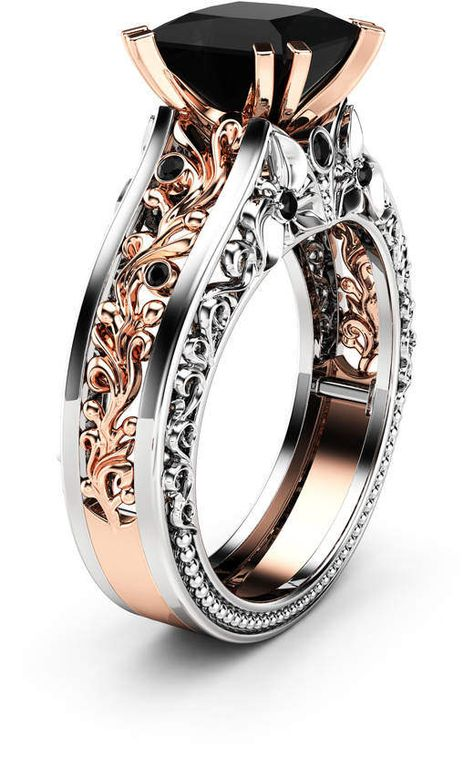 Etsy Princess Black Diamond Engagement Ring 14K Two Tone Gold Ring Victorian Black Diamond Engagement Ri