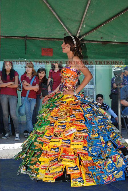 dress made from dorito & ruffle snack bags