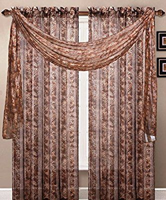 Amazon Com One Luxury Leopard Sheer Scarf Valance 40 Wide X 216 Long Home Kitchen Scarf Valance Curtain Scarf Sheer Scarf