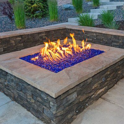Fire Pit Essentials Beads Semi Reflective Fire Pit Glass Outside