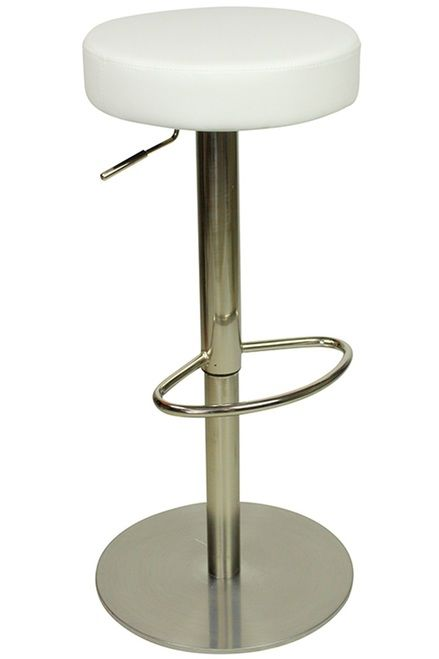 Envy Deluxe Brushed Chrome White Kitchen Swivel Bar Stool No Back Height Adjustable Weighted Base Swivel Bar Stools Kitchen Breakfast Bar Stools Stool