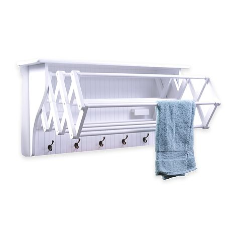 Accordion Drying Rack is perfect for saving space in your laundry room or bedroom. When it is needed it can easily extend to provide 10 hanging racks to hang wet clothes, towels or delicates. Large hooks along the bottom hold scarves, socks, and more. Laundry Room Drying Rack, Clothes Drying Racks, Laundry Room Storage, Laundry Room Design, Clothes Dryer, Laundry Rooms, Laundry Closet, Small Laundry, Laundry Basket