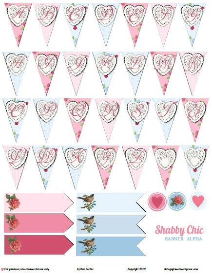 Free Printable Download - Shabby Chic Banner Alpha Avery\u0027s 1st