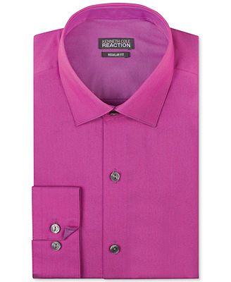Kenneth Cole Reaction Solid Men's Dress Shirt - Magenta Pink ...