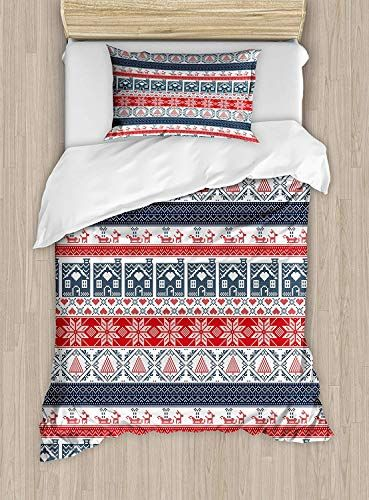 Big Buy Store Nordic Duvet Cover Scandinavian Inspirations Winter Stitch Gingerbread House And Tree Sleigh Decorative 4 Piece Bedding Set Duvet Covers Duvet