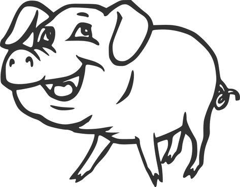 Smiling Pig Clip Art Smiling | Clip art, Pig images, Art