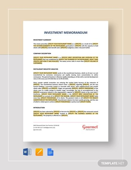 Investment Memorandum Template Free Pdf Google Docs Word Apple Pages Template Net Memorandum Template Memorandum Investing