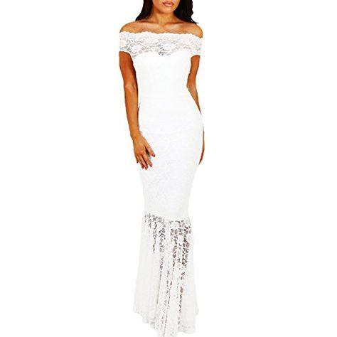 a170e9f792cc5 Toocool - Vestito donna lungo abito sirena inserti PIZZO aderente elegante  nuovo DL-2093  Mbianco