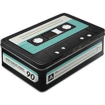 Flat Nostalgic-Art Wave 30714 Retro Cassette Storage Tin