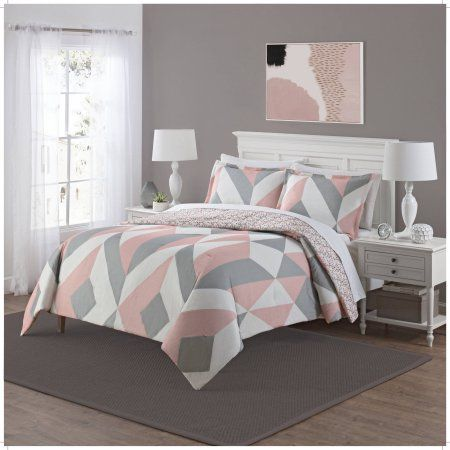 Mainstays Deco Reversible 3 Piece Bedding Comforter Set Pink Pink And Grey Room Pink Bedroom Decor Light Pink Bedrooms