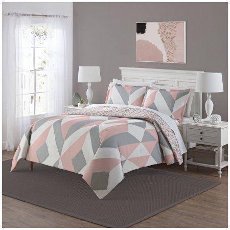 Mainstays Deco Reversible 3 Piece Bedding Comforter Set, Pink