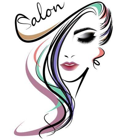 Illustration Of Women Long Hair Style Icon Logo Women Face On Beauty Salon Logo Beauty Salon Design Salon Logo