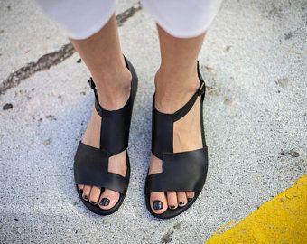 eb30ae86587ca New, Black Leather Sandals, Handmade Sandals, Flat Sandals, Black ...