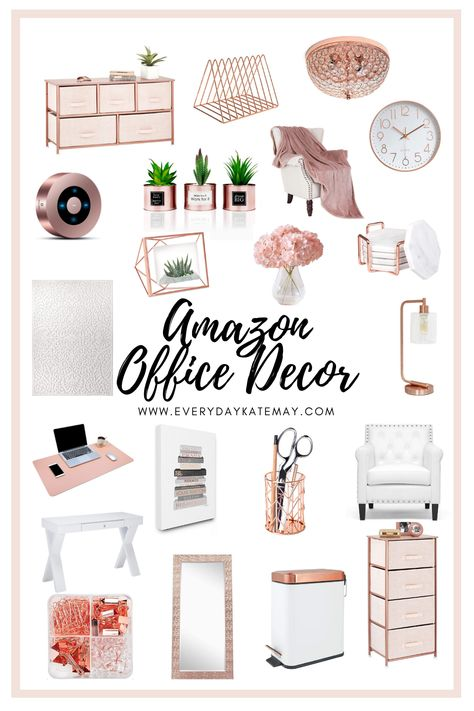 Its time to upgrade your office while working from home. Rose gold office decor is clean, sleak, and just want you need. Rose Gold Room Decor, Rose Gold Rooms, Cozy Home Office, Home Office Design, Gold Office Decor, Work Desk Decor, Office Desk Accessories, Decorating Office At Work, Womens Office Decor