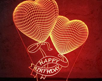 Double Heart 3d Illusion Acrylic Led Lamp Vector Dxf Cdr Etsy In 2020 3d Illusions Happy Birthday Balloons Illusions