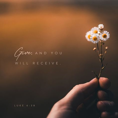 Give, and you will receive. - Luke 6:38 ____________________________________ #verseoftheday #dailyverse #youversion