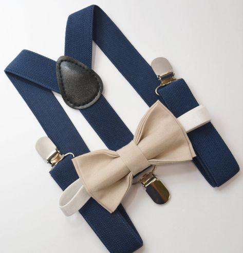 Bow Tie & Suspenders SET / Tan Chamagne Biscotti Bow Tie / NAVY Blue Suspenders / Kids Mens Baby Wedding Page Boy Groom 6 months - Adult Set