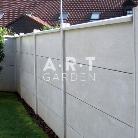 Cloture Beton Renforcee Gris Face Lisse Cloture Plaque Beton Palissade Beton Cloture Jardin Bois