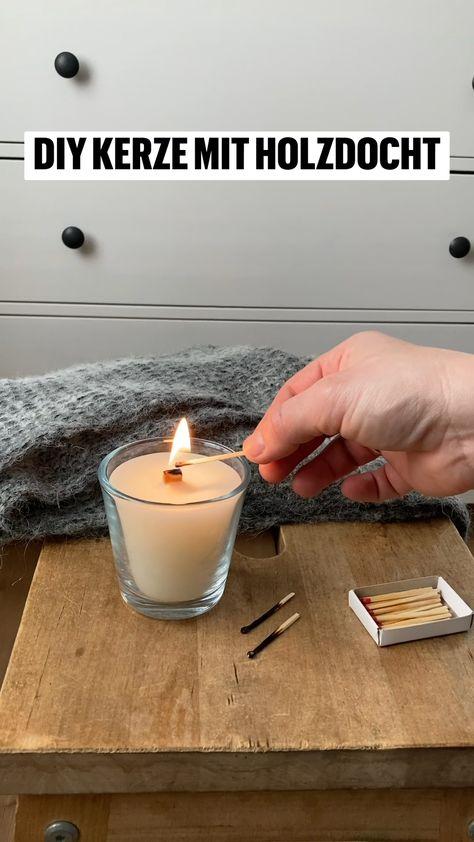 DIY kerze mit Holzdocht