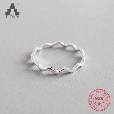 Dedo de Plata de Ley 925 anillos de oro rosa Simple fino línea curva onda salvaje suave mujer chica anillo de joyería de la boda