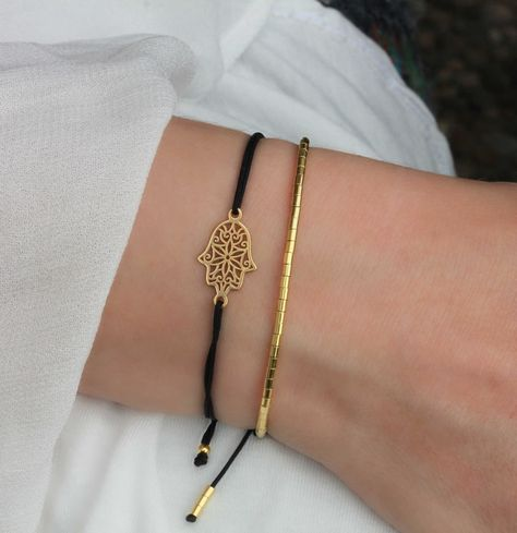 Armband Set Fatimas Hand / Hamsa Tubes 925 Silber vergoldet Schwarz-Gold