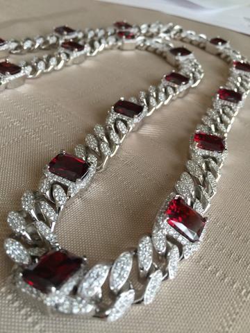 6049f1965 .925 Silver C.Z. Lab Made Custom Radiant Cut Ruby Solid Miami Cuban Link  Designer Chain 16.2mm.