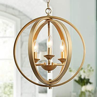 KSANA Gold Orb Chandelier, Modern Globe Chandelier, Dining