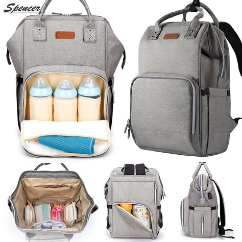 Spencer Waterproof Baby Diaper Backpack Large Capacity Travel Mummy Nappy Bags Nursing Bag with USB Best Diaper Bag, Baby Diaper Bags, Nappy Bags, Cool Diaper Bags, Top Rated Diaper Bags, Trendy Diaper Bags, Diaper Babies, Large Diaper Bags, Baby Essentials