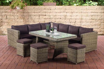 Clp Polyrattan Essgruppe Sorano Sitzgruppe Mit 8 Sitzplatzen Komplett Set Mit 1 Eckbank 3 Hockern 3er Sofa 1 Tisch Gartenmobel Sets Gartenmobel Lounge Mobel