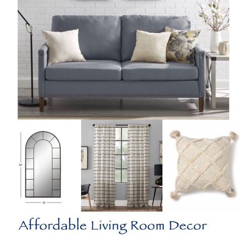 A cute and stylish small space sofa with linen fabric and nail head trim at a great price.  Perfect for an apartment, small living room, or as extra seating in a bedroom. Beautiful large arched wall mirror with panels., striped curtains, Living room decor, bedroom decor, small space furniture, affordable decor.  #stayhomewirhLTK #walmarthome Follow me in the @LIKEtoKNOW.it shopping app to shop this post and get my exclusive app-only content!  #liketkit #LTKstyletip #LTKhome #LTKfamily @liketokno