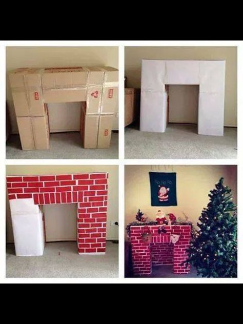 Cardboard Fireplace Pinning for the next time we need a stage