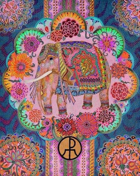 Illustrations Painting - Pink Elephant by Ellie Perla