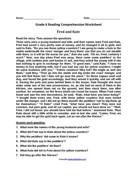 Fred And Kate Br Sixth Grade Reading Worksheets Reading Comprehension Worksheets Sixth Grade Reading Comprehension Worksheets 6th grade reading worksheets printable