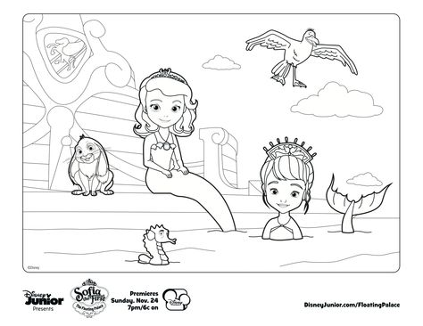Sofia the mermaid! Print out and color away.